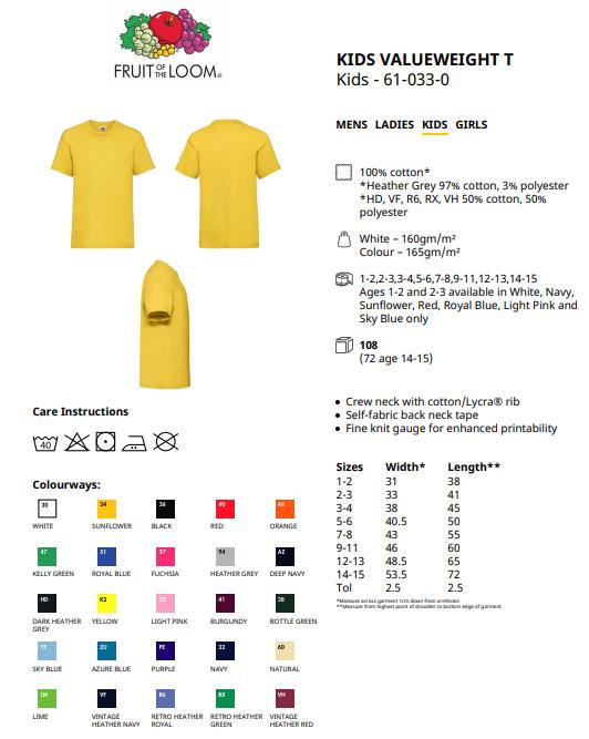 T-Shirt Fruit of the Loom Kinder-T-Shirt T-Shirt