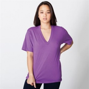 Dames V-neck American Apparel Fine jersey short sleeve