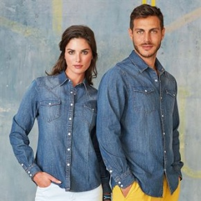 Dames shirt Kariban Denim Long sleeve