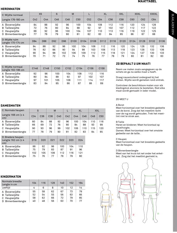 blaklader maattabel 2014 - Heren Broek Maat 46 Omrekenen